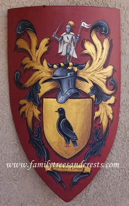 Knight shield gold leaf paint