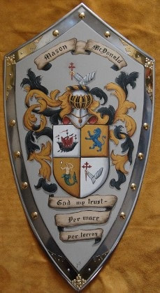 Medieval shield with Coat of Arms Mason -McDonald