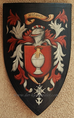 Nicoud  Coat of Arms shield, ​ medieval shield