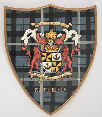 Campbell clan family crest Coat of Arms wooden plaque