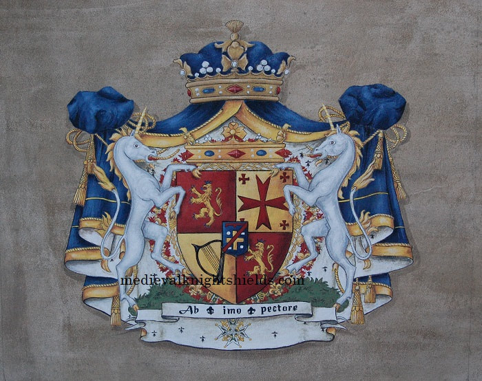 Coat of Arms painting on leather
