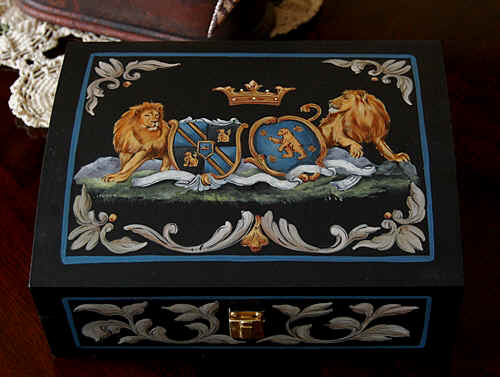 Custom Vaot of Arms painting on wooden box - lions