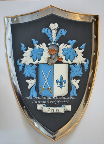Delisi Coat of Arms shield -  metal  knight shield