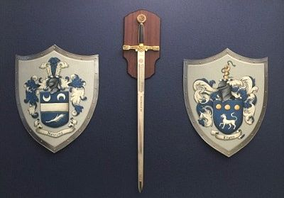 Husband & Wife Coat of Arms metal knight shields