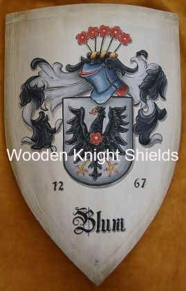Wooden medieval knight shield, battle shield with Blum family crest