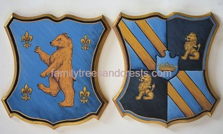 Husband & wife Coat of Arms hand painted wooden wall plaques