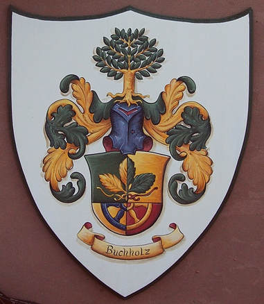 Buchholz Family crest painting wooden plaque