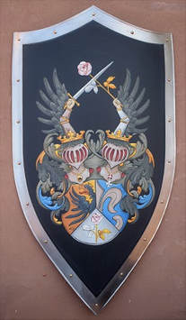 Medieval shield with Coat of Arms painting