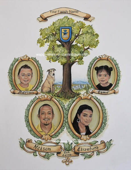 Personalized family tree Tree of Life with realistic family portraits