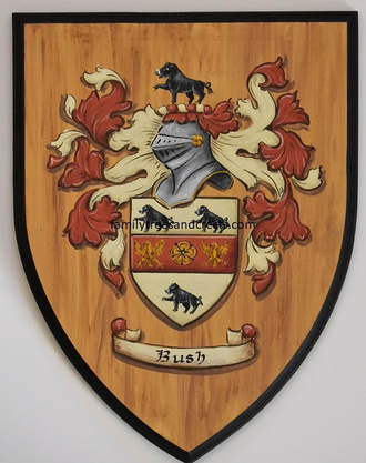 Bush coat of arms - family crest painting