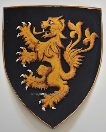 Small knight shield  w. lion rampant 10 x 12 inches