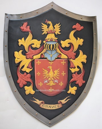 Medieval shield w. Graves Coat of Arms shield