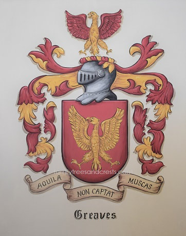 Greaves Coat of Arms on 30 x 40 inch canvas