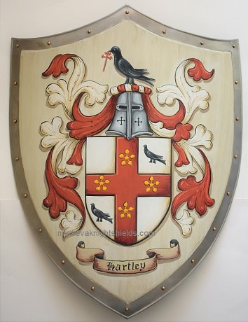 Medieval shield Hartley Coat of Arms shield antique white