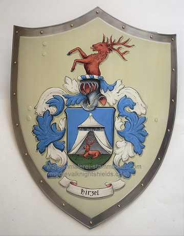 Family Coat of Arms Hirzel -  medieval knight shield with stag