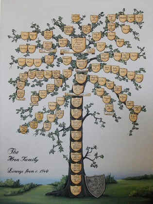 Custom family tree painting w. Coat of Arms