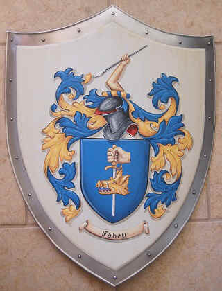 Knight shield with Fahey Coat of Arms painting
