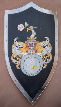 Knight shield with Rose Coat of Arms painting