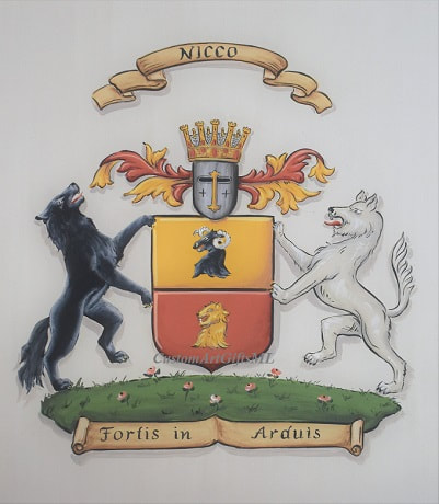 Nicco Coat of Arms with wolf shield supporters