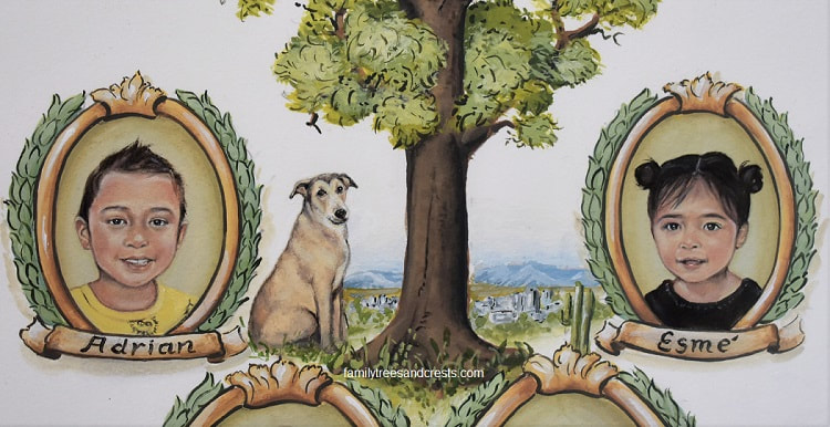 Custom Children portrait painting family tree w. dog portrait -  home town