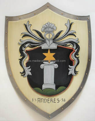 Metal knight shield w. old style Anderes Coat of Arms painting on antique white