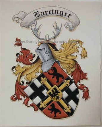 Caot of Arms painting Barringer family crest