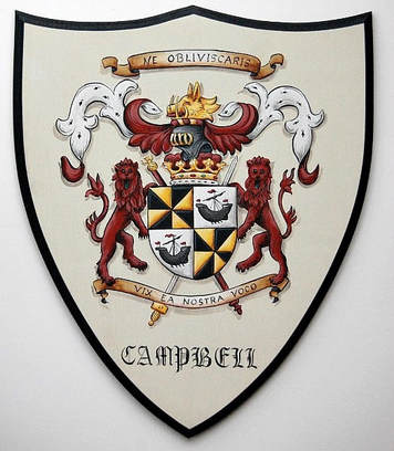 Campell Coat of Arms painting w. lion shield supporter