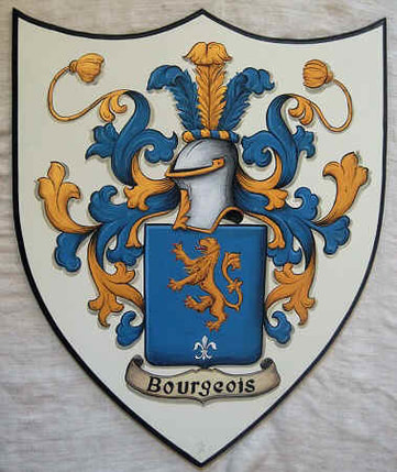Bourgeois Coat of Arms painting wooden plaque