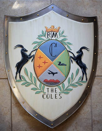 Knight shield with Coles Coat of Arms painting