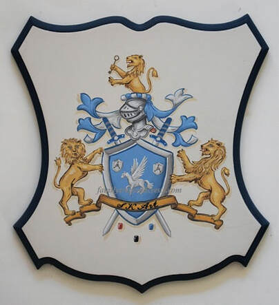 Company Coat of Arms Logo with lion shield supporters