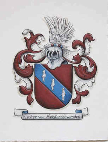 Fischer Coat of Arms , family crest painting