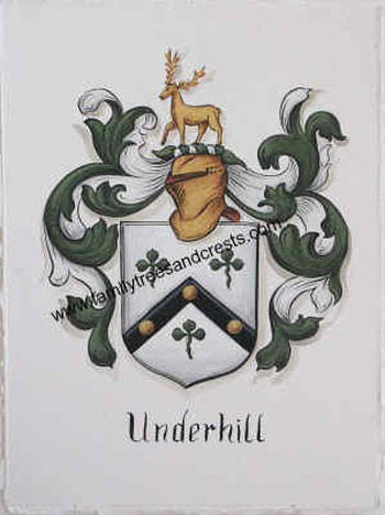 Underhill Coat of Arms painting - gold leaf paint