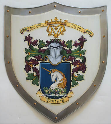 Wedding shield, metal knight shield w. family crest