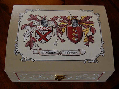 Wedding Coat of Arms - custom family crest box Gibbons - OBrien