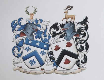 Wedding crest - Coat of Arms painting