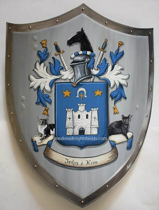Custom Coat of Arms wedding knight shield with pets of  bride and groom