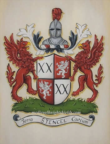 Stencel Coat of Arms with griffin shield supporters