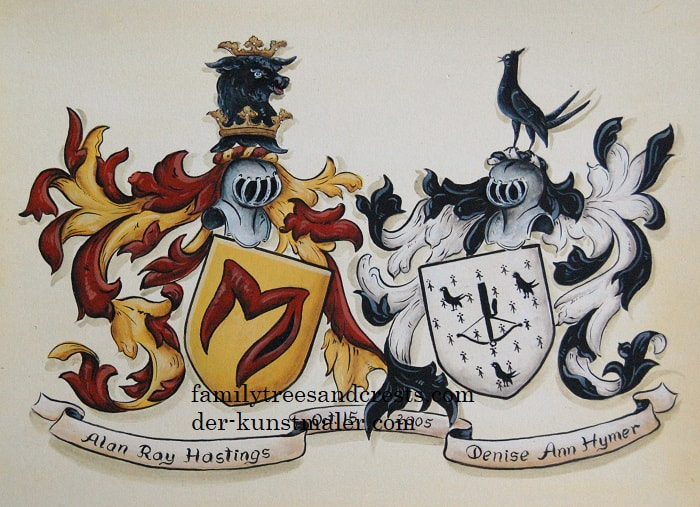 Double family crest painting on watercolor paper - wedding crest